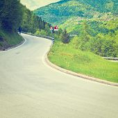 foto of italian alps  - Winding Asphalt Road in the Italian Alps Instagram Effect - JPG