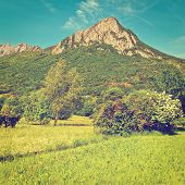 stock photo of italian alps  - The Small Village High Up in the Italian Alps Instagram Effect - JPG