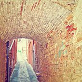 image of vault  - Vault over a Narrow Street in the Italian City of Todi Instagram Effect - JPG