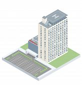 foto of parking lot  - Isometric hospital with a heliport and a parking lot - JPG