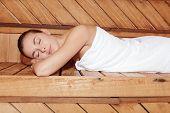 stock photo of sauna woman  - Pure bliss - JPG