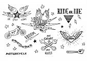 pic of silkscreening  - Traditional tattoo biker set of design elements - JPG