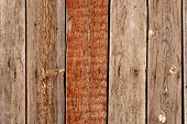 foto of wainscoting  - Wooden background with one painted in brown plank - JPG