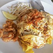 picture of gai  - Plate of Pad Thai or phat Thai in omelette  - JPG
