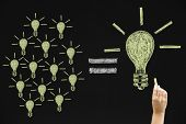 stock photo of equality  - Drawing light bulbs on blackboard Many small ideas equal a big one - JPG