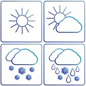 pic of snow clouds  - Vector abstract winter day weather flat image set with sun - JPG