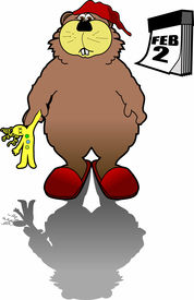 picture of groundhog  - cartoon graphic depicting a groundhog  - JPG