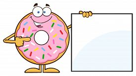 stock photo of sprinkling  - Donut Cartoon Character With Sprinkles Showing A Blank Sign - JPG