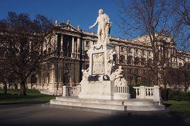 image of mozart  - Monument of Woflgang Amadeus Mozart in Hofburg palace garden Vienna Austria - JPG