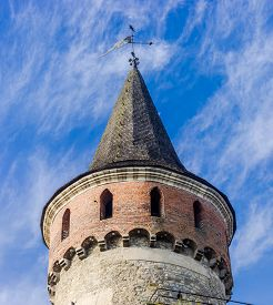 foto of wind vanes  - One of the towers of ancient Kamenetz - JPG