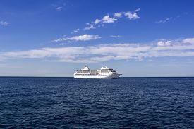 stock photo of passenger ship  - The white passenger ship sailing on the Mediterranean Sea - JPG