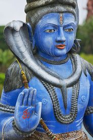 foto of shiva  - Exterior detail of the Shiva statue at Ganga Talao  - JPG
