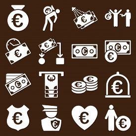 stock photo of streetwalkers  - Euro banking business and service tools icons - JPG