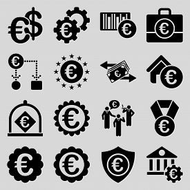 pic of passport template  - Euro banking business and service tools icons - JPG