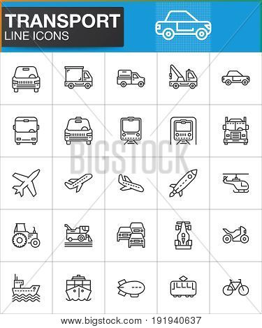 poster of Transport line icons set outline vector symbol collection linear style pictogram pack. Signs logo illustration. Set includes icons as car truck plane helicopter bus tram bike train ship