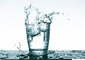 Water splash in glass. Drinking water concept poster