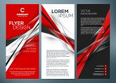 Vector Business Trifold Brochure Or Banner Template. Abstract Red And Black Background. Vector Illus poster