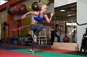 Woman Couple Train Together With Resistance Bands poster