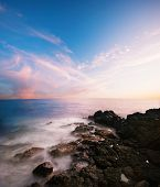 picture of blue sky  - Sunset on the Big Island - JPG