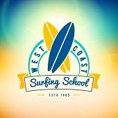Surfing School And Rental Summer Badge. Typographic Retro Style Label With Textured Background. Rent poster