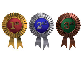 stock photo of gold medal  - Set of gold silver and bronze medals on white background - JPG