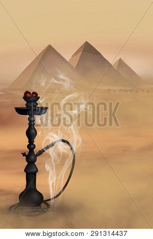 Hookah Egyptian Pyramids Desert Landscape