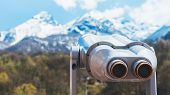 Touristic Telescope Look At The City With View Snow Mountains, Metal Binocular On Background Viewpoi poster