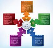 Business Presentation Diagram with five different colored fields for text and statistics