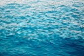 Blue Clear Water. Beautiful Blue Sea Wave Photograph Close Up. Beach Vacation At Sea Or Ocean. Backg poster