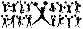 Silhouettes Of Cheerleading Dancers (jumping And Standing) With Pompoms, Isolated Set Of Icons.vecto poster