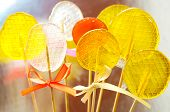 Isomalt Lollipops Cockerels On Sticks Candies. Candy, Lollipop, Bonbon, No-sugar Candy. Sweetmeat No poster
