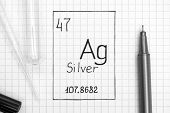 The Periodic Table Of Elements. Handwriting Chemical Element Silver Ag With Black Pen, Test Tube And poster