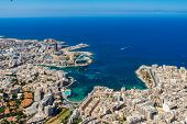 Malta Aerial View. St. Julians Or San Giljan, And Tas-sliema Cities. St. Julians Bay, Balluta Bay, poster