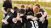 Junior Sport Team Spirit. Boys Sport Team Huddle. Coaching Youth Football Team poster