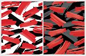 Funny Abstract Paintbrush Lines Vector Pattern. Red And Black Stripes On A White Background. Red And poster
