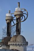 Large Vertical Valve, Valve On The Pipeline. Industrial Valve In A Large System. Russia. poster
