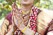 picture of henna tattoo  - Indian girls hands with Henna tattoos on her wedding day