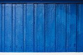 Vivid Wood Planks Close-up. Wooden Painted Rustic Blue Background. Cobalt Thick Paint On Uneven Boar poster