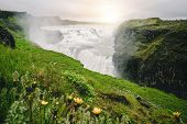 Landscape Of Gullfoss Waterfall In Iceland. poster