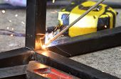 Spark From Weld Work When Welder Welding Iron, Steel Structure In Construction Site, Industrial Meta poster