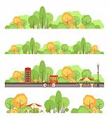 Set Of Vector Park Design Elements, Recreation Areas, Isolated On White Background Cozy Resting Plac poster