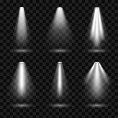 Creative Vector Illustration Of Bright Lighting Spotlights Set, Light Sources Isolated On Transparen poster