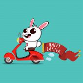 Bunny On A Retro Scooter With Ribbon Banner And Text happy Easter. Rabbit Vector Cartoon Character poster