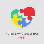 A Square Vector Image With A Puzzle Heart As A Symbol Of Autism Awareness. A World Autism Awareness  poster