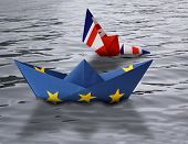 Paper Ships Made As European Union And British Flags Sailing Side By Side In The Water - British Shi poster