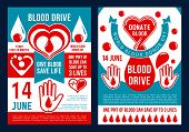 World Blood Donor Day Brochure For Blood Donation. Vector Medical Posters Design Of Heart, Blood Dro poster