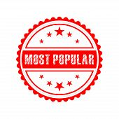 Most Popular White Grunge White Red Round On White Background Vintage Rubber Stamp.most Popular Stam poster
