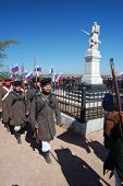 CRIMEA, UKRAINE - SEPTEMBER 26  Honor Guard. Lost Russian soldiers of Crimean War funerals. Near Alm