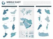 Vector Map Set.  High Detailed 15 Map Of Middle East  Countries With Administrative Division And Cit poster