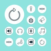 Audio Icons Set With Previous Music, Headphone, Sell Music And Other Note Donate Elements. Isolated  poster